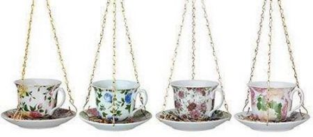 Teacup and Saucer Ceramic Wild Bird Feeder with Hanging Chain[Blue]