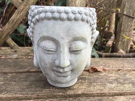 Buddha Planter or pot cover in reconstituted stone.  Small Size 13cm diameter