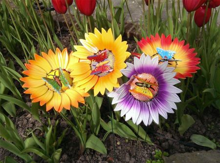 Dancing Sunflower with Butterfly Garden Decoration x 4