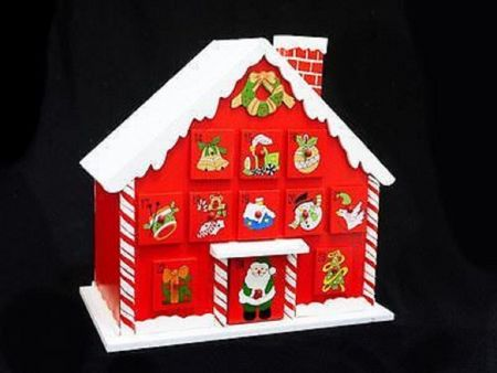 Large Wooden advent calendar.  Hand made.  Candy cane house 893797
