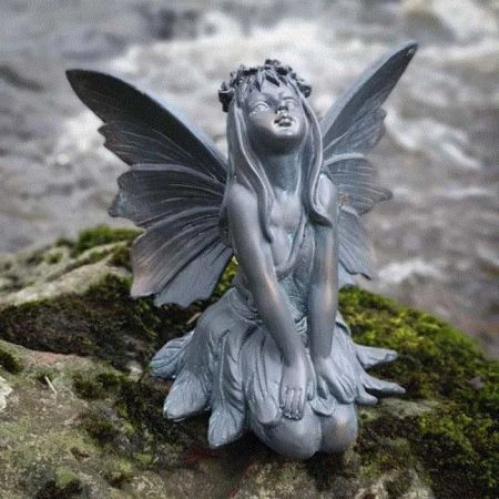 Stagazing Flower Fairy Garden Ornament with a Bronze Finish