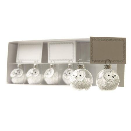 Set of 6 Glass Owl Place Setting Holders.  Name Card Holders