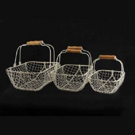Nest of 3 White Metal Wire Rectangle Basket with Natural Wood Handle