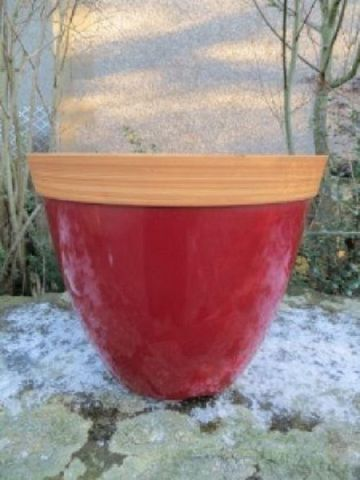 Provence Plant Pot Planter 34cm Diameter. Ruby red colour