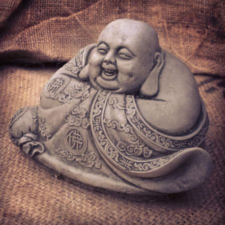 Round Jolly Buddha Garden Ornament made from Reconstituted Stone. BD2