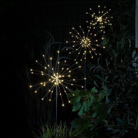 Firework Starburst Solar Powered Garden Stake Light Set of 3