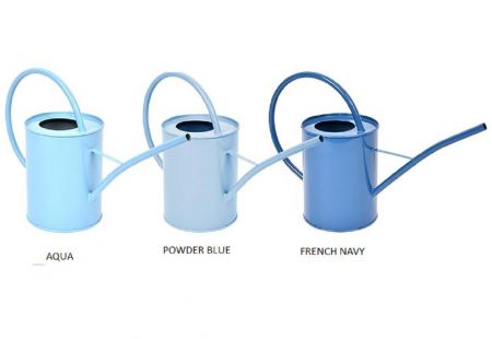 French Style Metal Indoor Watering Can in Aqua Blue