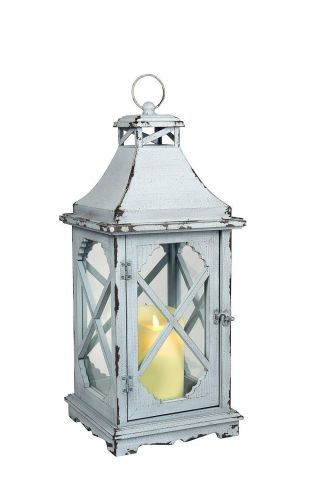 Vintage Style Wooden Lantern.  Hand Made. Powder Blue.  58cm