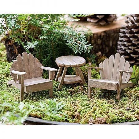 Miniature Gardening Mini Adirondack Chair wih Weathered Finish