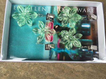 Tablecloth Weights made from coloured plastic.  MINT FLOWERS