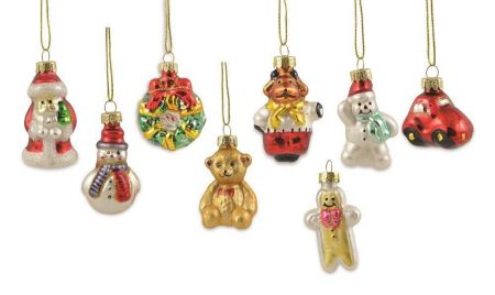 Pack of 8 Assorted Glass Christmas Figure Baubles