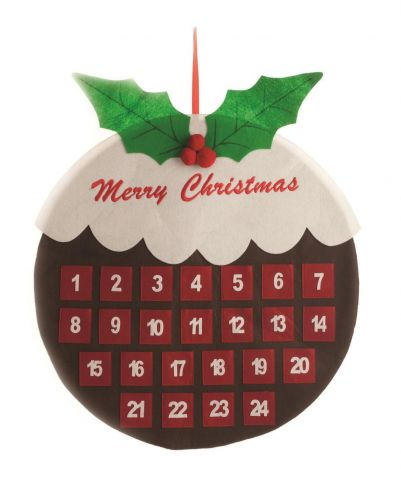 Christmas Pudding Felt Wall Advent Calendar.  68cm