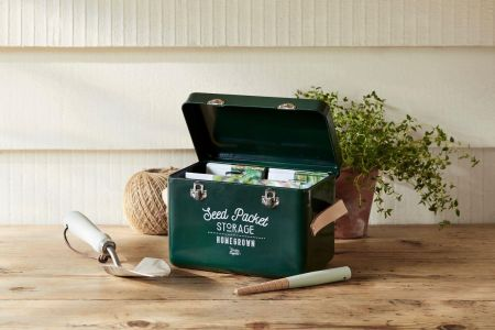 Leather Handled Seed Packet Storage Tin from Burgon & Ball GREEN colour
