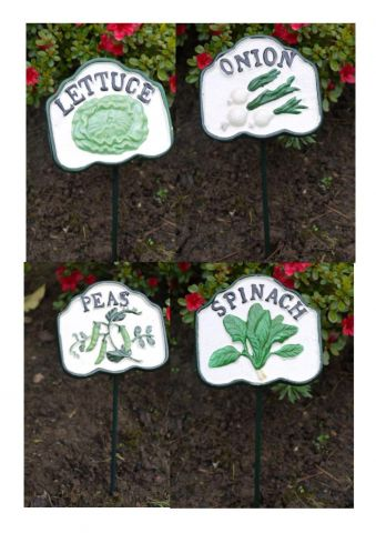 Set of 4 Vegetable Garden Markers SPINACH LETTUCE ONION PEAS