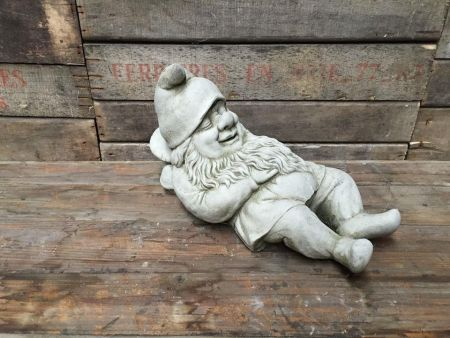 Lazy Gnome Garden Statue Made from Reconstituted Stone.