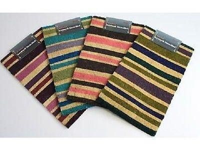Contemporary Striped coir door mat with non sip PVC backing. 70x40cm[Pink and Black]