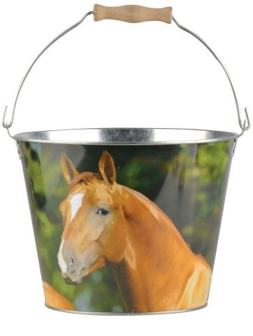 Bucket with Horse Design made from Zinc with Wooden Handle