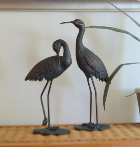 Set of 2 Crane Statues With a Bronze Finish Set of 2