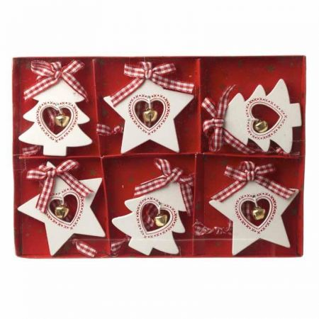 Nordic Wooden Tree & Star Tree Decorations x 6 from Heaven Sends