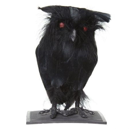 Spooky Black Halloween Owl with Light up Eyes