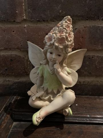 Flower Fairy with a Butterfly Garden Statue 20cm tall approximately