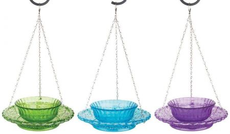 Glass Bird Feeder hobnail style with bowl and hanger