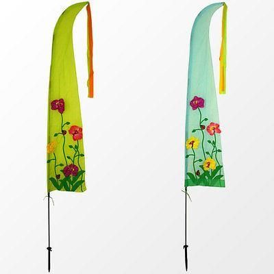 Wind sails with 3D effect flowers.  Over 2m tall[Green]