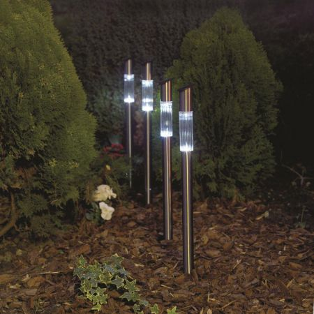 Set of 4 Contemporary Stainless steel Solar Post Light