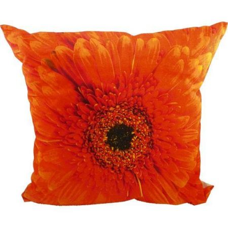 Canvas Cushion with Padding. ORANGE  Gerbera Flower Picture.  50cm Square