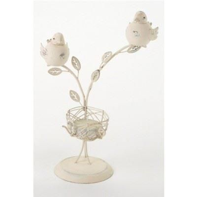 Shabby chic t-lite holder with two birds on branched and glass insert.