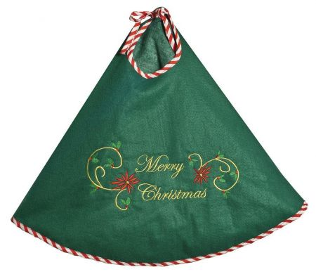 Embroidered Christmas Tree Skirt.  80cm Diameter.  Green