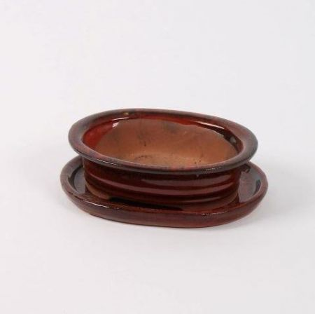 Oval Bonsai Dish and Saucer 15cm wide.   Deep Red