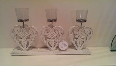 Carved Wooden Triple Heart Tealight Holder with Glass Votives