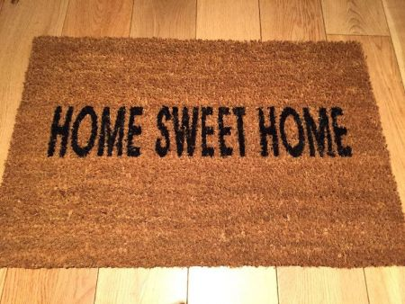 Home Sweet Home coir door mat with non sip PVC backing. 60x40cm