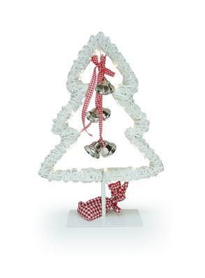 White wicker Christmas tree with battery operated led lights.  40cm tall. Nordic