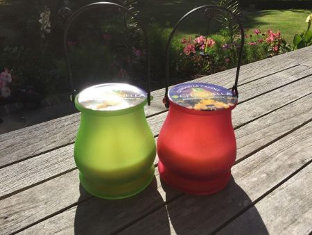 2 x Frosted Glass Candle Jars with 15 Hour Citronella Candle. Red & Green