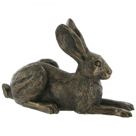 Cold Cast Cast Bronze Violet Hare by Harriet Glen