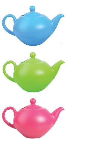Large teapot watering can in brightly coloured plastic. Choose colour