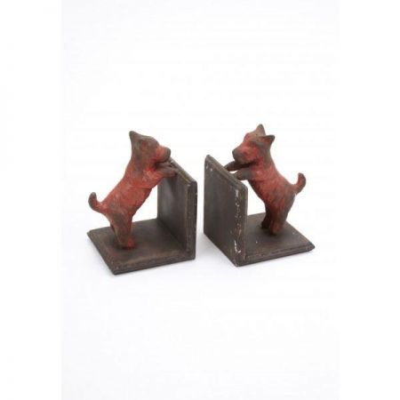 Retro Painted & Aged Iron Bookends with Westies on either End.