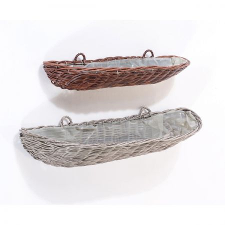 Everlasting Wicker Wall Planter / Trough.  60cm wide