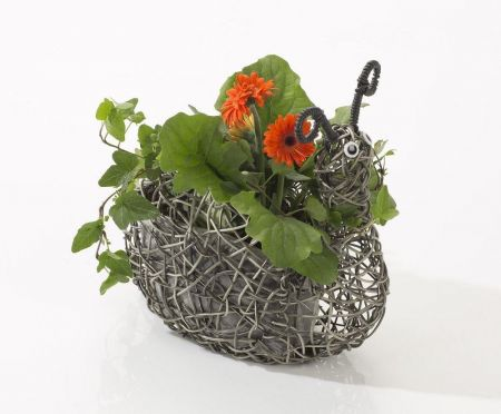 Weatherproof Rattan Snail Planter. Quirky. Choose from Grey or Brown