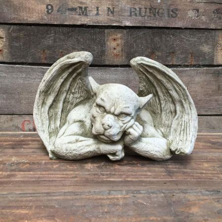 Resting Gargoyle Garden Statue Made from Reconstituted Stone with wings