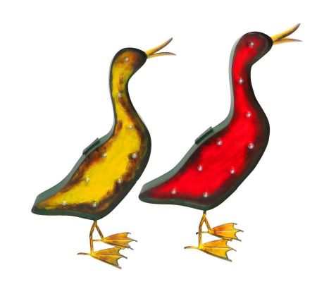 Vintage Duck Wall Art Lit with Solar LEDs.  49cm wide