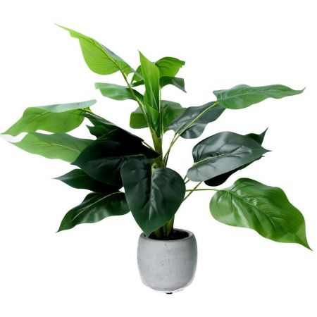 Large Philodendron Plant Artificial Plant in a Concrete Pot 46cm tall approx