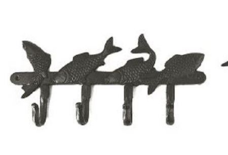 Fish Hooks! Decorative Cast Iron Coat Hooks. 4 Hooks