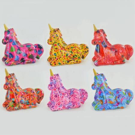 Annabel The Unicorn ceramic moneybox from Pomme Pidou. High gloss, decoupage finish. Choose the colour.