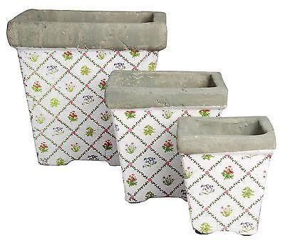 Set of three aged crackle ceramic square planters.  Botanicae pattern