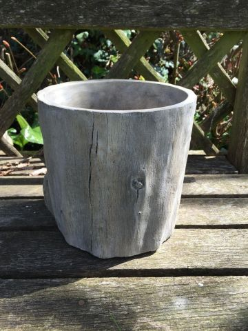 Tree Trunk Planter Pot for the Garden or Indoors. 14cm Dia