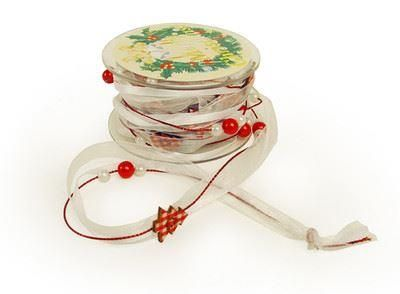 Christmas ribbon with painted wooden trees and beads/pearls.  5 m