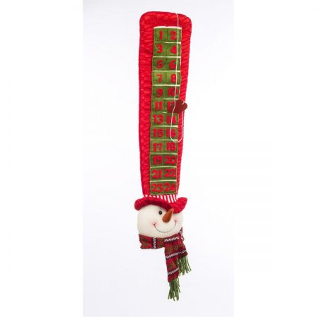 Plush Santa  in a Tall Hat Hanging Avent Calendar